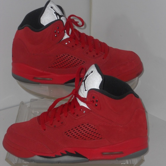 size 40 d354c 1c246 AIR JORDAN Other - JORDAN RETRO 5 LACE UP RED SUEDE SNEAKERS SIZE 7